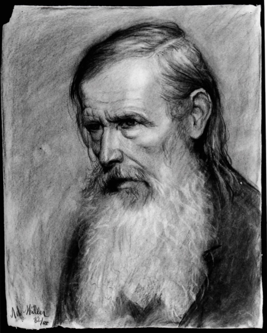 1882 Bust Length Study Of An Old Man With A Long White Beard Looking Down To The Left Adolfo Muller Ury